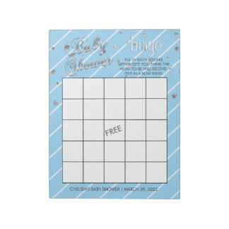 Pretty Blue and Silver Baby Shower Bingo Game Notepad