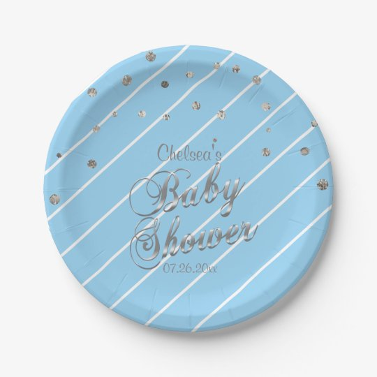 Pretty Blue and Silver - Baby Shower Paper