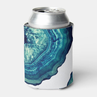 Pretty Blue and Teal Agate Geode Stone on Blue Can Cooler