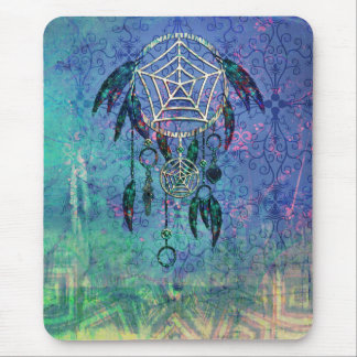 Pretty Blue and Teal Pastel Feather Dreamcatcher Mouse Pad