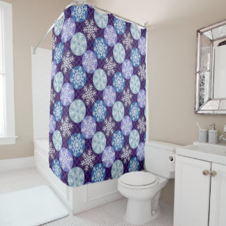 Pretty Blue and Violet Snowflakes Winter Pattern Shower Curtain
