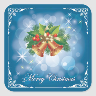 Pretty Blue and White Merry Christmas Square Sticker