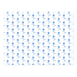 Pretty Blue and White Roses Pattern. Postcard