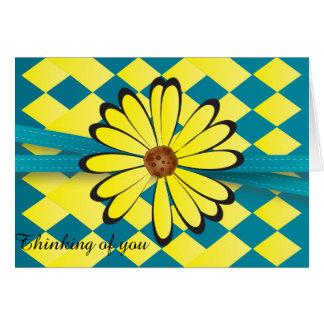 Pretty Blue and Yellow Flower Design Note Card