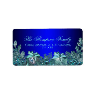 Pretty Blue Bauble & Bow Christmas Address Labels