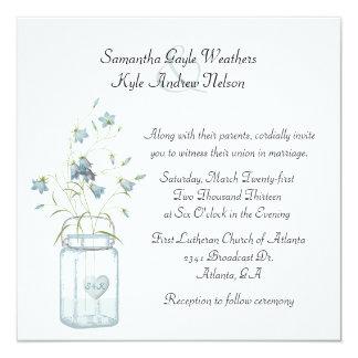 Pretty Blue Bells & Mason Jar Wedding Invitation