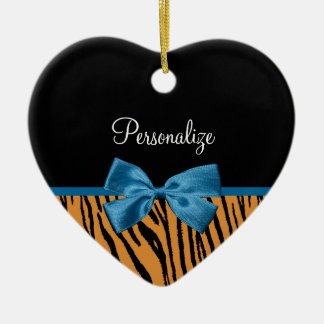 Pretty Blue Bow Stylish Tiger Stripes and Name Ceramic Heart Decoration