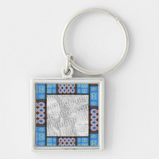 Pretty blue brown tile pattern photoframe key chain