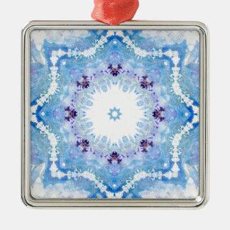 Pretty blue butterflies Silver-Colored square decoration