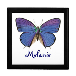 Pretty Blue Butterfly Custom Large Square Gift Box