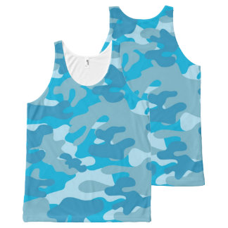 Pretty Blue Camouflage Pattern All-Over Print Tank Top