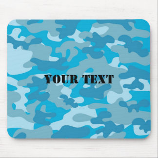 Pretty Blue Camouflage Pattern Mouse Mat