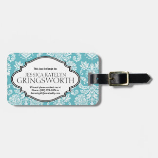 Pretty Blue Damask Girly Personalized Luggage Tag