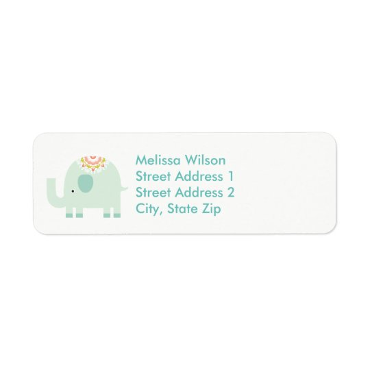 Pretty Blue Elephant Return Address Labels