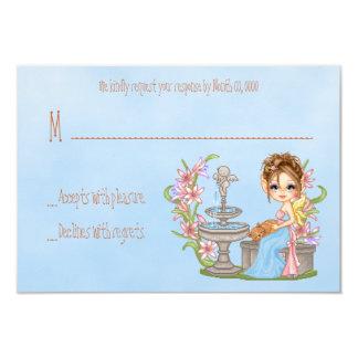 "Pretty Blue Faery Pixel Art 3.5"" X 5"" Invitation Card"