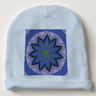 Pretty Blue Floral Design Baby Beanie