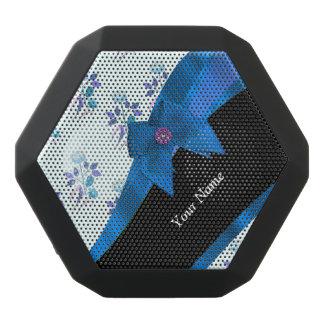 Pretty blue floral flower pattern black bluetooth speaker