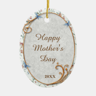 Pretty Blue Floral Keepsake Mother's Day Ornament