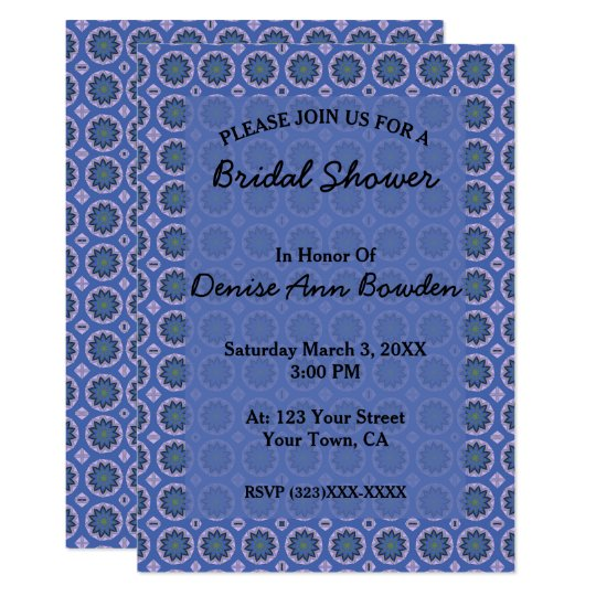 Pretty Blue Floral Pattern Bridal Shower Card