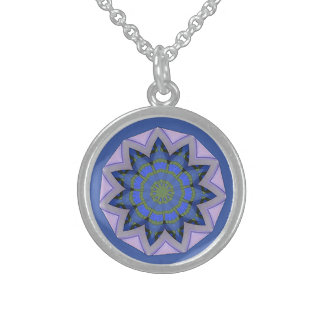 Pretty blue floral pattern Design Sterling Silver Necklace