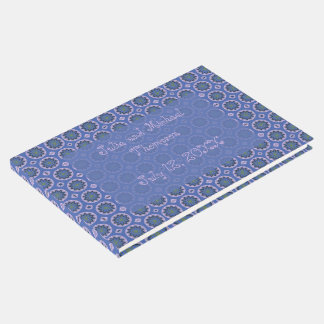 Pretty Blue Floral Pattern Guest Book