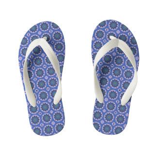 Pretty Blue Floral Pattern Kid's Flip Flops