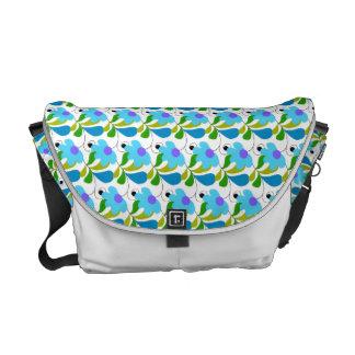 Pretty Blue Floral Pattern Messenger Bags