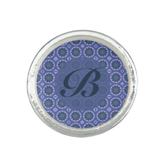 Pretty blue floral pattern Monogram Ring