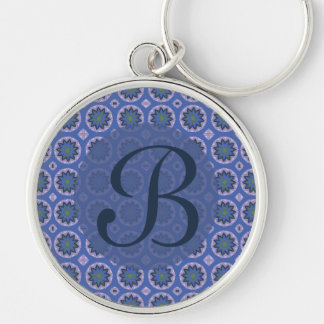 Pretty blue floral pattern Monogram Silver-Colored Round Key Ring