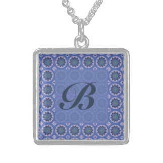 Pretty blue floral pattern Monogram Sterling Silver Necklace