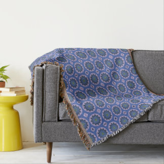 Pretty Blue Floral Pattern Throw Blanket