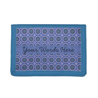 Pretty Blue Floral Pattern Trifold Wallet