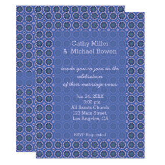 Pretty Blue Floral Pattern Wedding Card