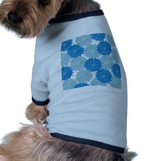Pretty Blue Flower Blossoms Floral Pattern Print Pet T-shirt