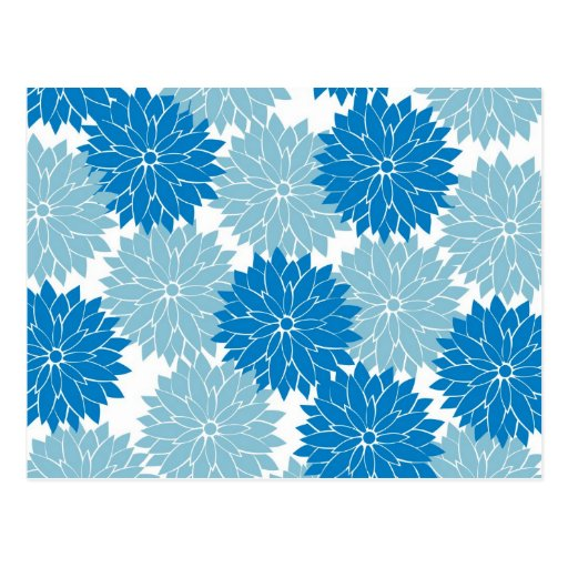 Pretty Blue Flower Blossoms Floral Pattern Print Post Card