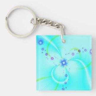 Pretty Blue Flower Key Ring