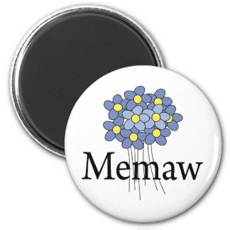 Pretty Blue Flower Memaw T-shirt 6 Cm Round Magnet