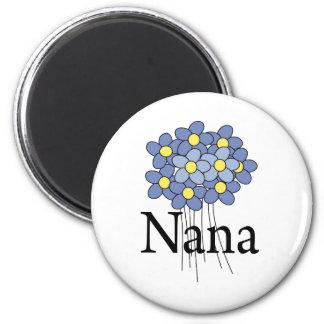 Pretty Blue Flower Nana T-shirt 6 Cm Round Magnet