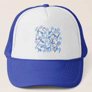 Pretty blue flower pattern on white. Custom Trucker Hat