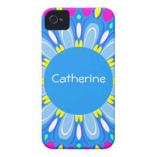 Pretty Blue Flower Retro Monogram iPhone Case