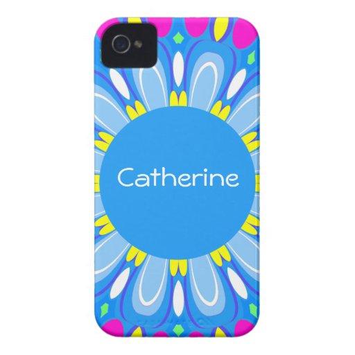 Pretty Blue Flower Retro Monogram iPhone Case Case-Mate iPhone 4 Cases