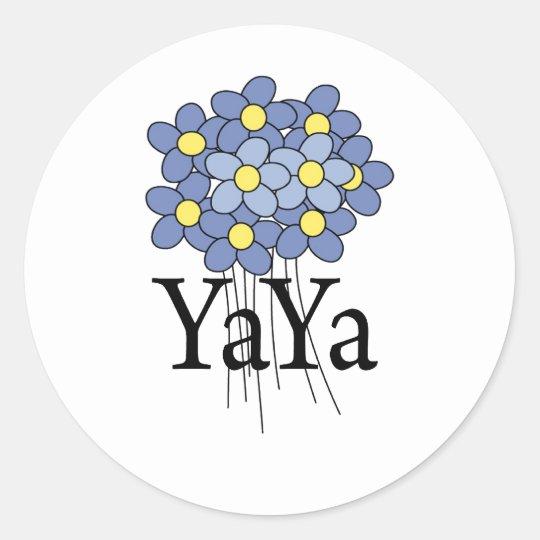 Pretty Blue Flower YaYa T-shirt Round Sticker