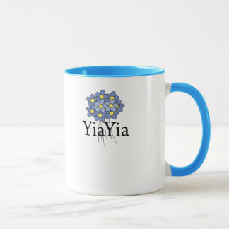 Pretty Blue Flower YiaYia T-shirt Mug