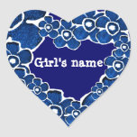 Pretty Blue Flowers Girls Customisable Heart Stickers