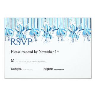 Pretty Blue Flowers Wedding Stationery 9 Cm X 13 Cm Invitation Card