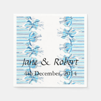 Pretty Blue Flowers Wedding Stationery Disposable Napkin