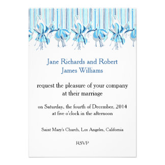 Pretty Blue Flowers Wedding Stationery Personalized Announcements