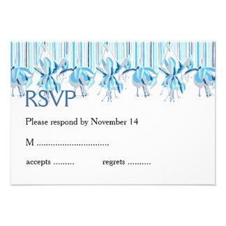 Pretty Blue Flowers Wedding Stationery Custom Invites