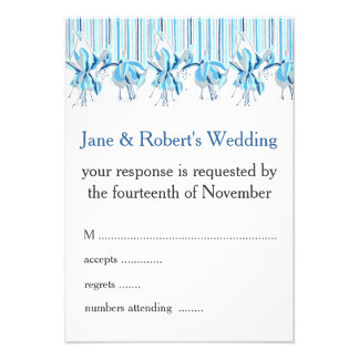 Pretty Blue Flowers Wedding Stationery Personalized Announcement