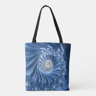 Pretty blue fractal tote bag
